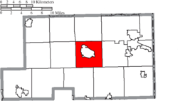 Location of Canfield Township in Mahoning County