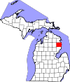State map highlighting Alcona County