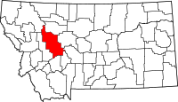 Map of Montana highlighting Lewis and Clark County