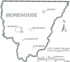 Morehouse Parish, Louisiana - Map of Morehouse Parish, Louisiana With Municipal Labels