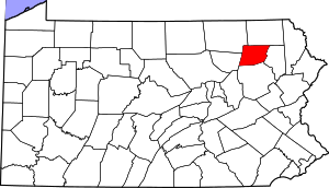 Map of Pennsylvania highlighting Wyoming County