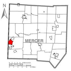 Map of Sharon, Mercer County, Pennsylvania Highlighted.png