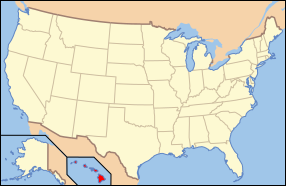 Map of USA with Hawaii highlighted