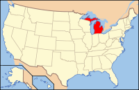 Map of the U.S. highlighting Michigan