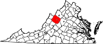 State map highlighting Augusta County