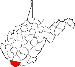 Map of West Virginia highlighting McDowell County.svg