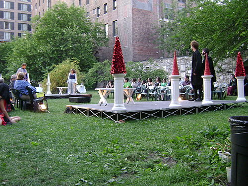 A production of John Reed's All the World's a Grave in the New York Marble Cemetery, which does not contain headstones Marble Cemetery - All the Worlds a Grave.JPG