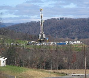 Moreland Township, Lycoming County, Pennsylvania - Tower for drilling horizontally into the Marcellus Shale Formation for natural gas, from Pennsylvania Route 118 in eastern Moreland Township