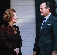 Margaret Thatcher e il Vice - Presidente George H.W. Bush il 17 giugno 1987