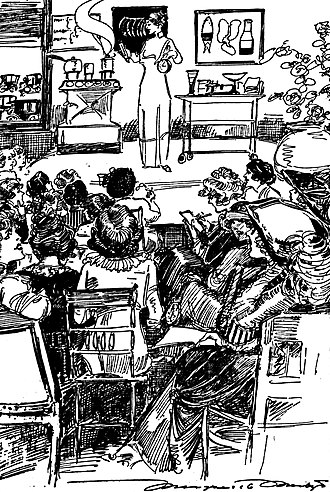 Cooking school - Ana Barrows teaches a cooking class for adults in 1913 St. Louis, Missouri, in this sketch by Marguerite Martyn.