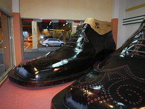 Shoe size - World's largest pair of shoes, Riverbank Center, Philippines—5.29 metres (17.4 ft) long and 2.37 metres (7.75 ft) wide, equivalent to a French shoe size of 753