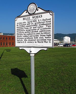 DuPont - A marker outside DuPont's Belle Plant in Dupont City, West Virginia, where ammonia was first synthesized for commercial use.