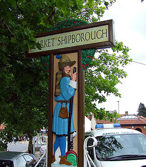 "Kingdom (UK TV series) - The Swaffham town sign, depicting the Pedlar of Swaffham, is altered to show ""the Tinker of Market Shipborough"". The filming of Kingdom in Swaffham has had a positive effect on the local economy."