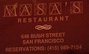 Masa's Wine Bar & Kitchen - Masa's Restaurant matchbook circa 1994