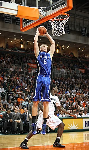 Mason Plumlee - Plumlee going up for a dunk for Duke in 2011