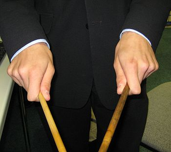 Percussion mallets held with Matched Grip