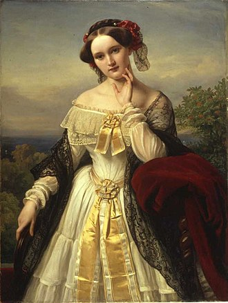 Richard Wagner - Portrait of Mathilde Wesendonck (1850) by Karl Ferdinand Sohn