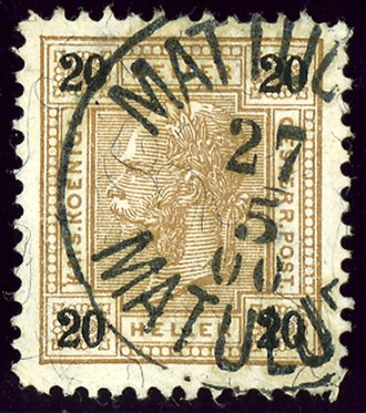 Matulji - The railway station office, opened in 1891,  bilingual cancellation in 1900
