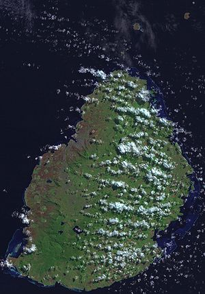 Outline of Mauritius - An enlargeable satellite image of Mauritius