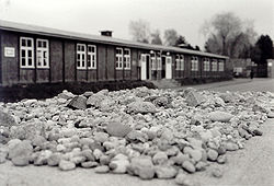 One of the barracks in Mauthausen with stones left by Jewish visitors in memory of the past