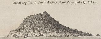 Mehetia - Coastal view of Osnaburg Island (now Mehetia, French Polynesia)
