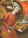 Portrait of a Persian woman pouring wine