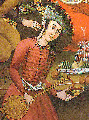 Persian wine - Mey being poured in a Safavid court painting, 17th century Isfahan.