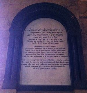 William Barrow (priest) - Memorial in Southwell Minster