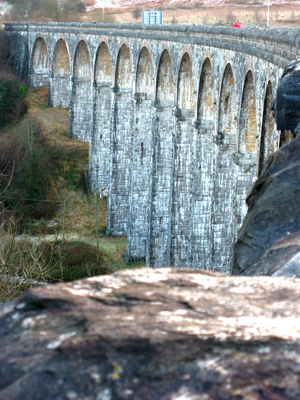 Cefn Coed Viaduct was built to carry the Brecon and Merthyr Railway. Merthyr Tydfil Cefn Viaduct.png