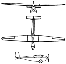 Messerschmitt M 17 3-view Le Document aéronautique August,1926.png