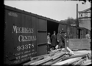Michigan Central Railroad - Loading dock with a Michigan Central boxcar in 1920