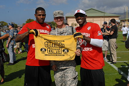Wallace (left) with a soldier and Antonio Brown during Pro Bowl practice Mike Wallace and Antonio Brown, Pro Bowl 2013.JPG