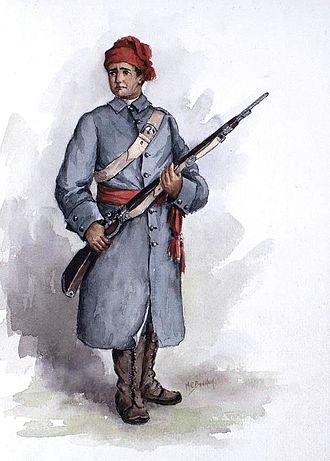 Colonial militia in Canada - Depiction of a French Canadian militiaman during the Seven Years' War.