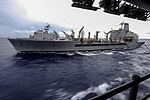 Military Sealift Command fleet replenishment oiler USNS Pecos (T-AO 197) conducts an underway replenishment with amphibious assault ship USS Bonhomme Richard (LHD 6) Sept 120904-N-SO729-259.jpg