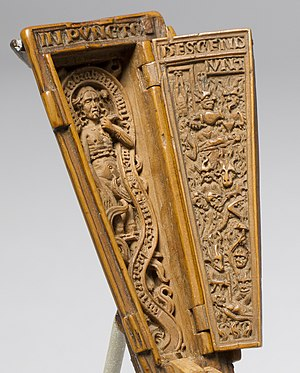 """Gothic boxwood miniature - """"Miniature Coffin"""" (detail). Netherlandish, early 16th century. The Cloisters, New York"""