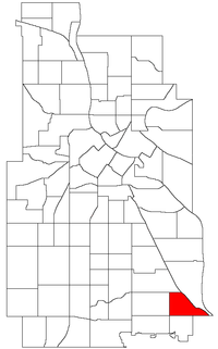 Location of Minnehaha within the U.S. city of Minneapolis