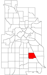 Location of Standish within the U.S. city of Minneapolis