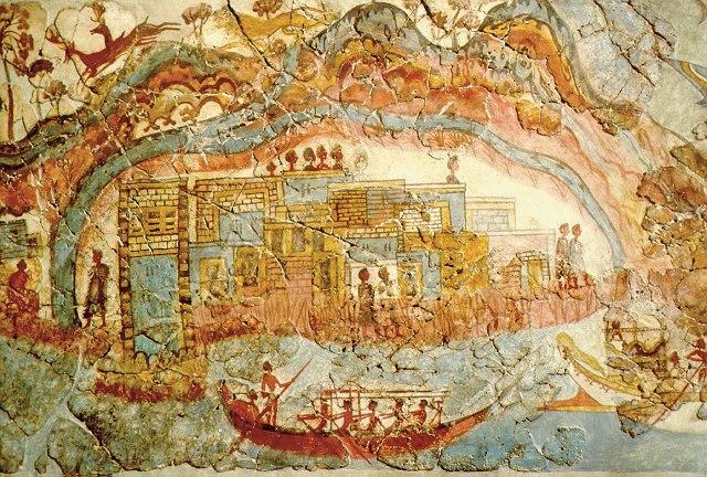 Minoan fresco, showing a fleet and settlement Akrotiri
