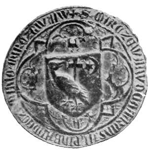 The seal of Voivode Mircea I of Wallachia from 1390, depicting the coat of arms of Wallachia MirceaCelBatranSeal1390.png