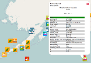 MISLE - Public incident data from 2001-2010 in south central Alaska over an OpenStreetMap base