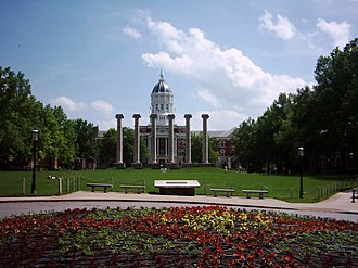 University of Missouri - Francis Quadrangle, featuring the columns and Jesse Hall