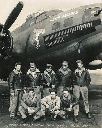 "Eighth Air Force - Aircraft and ground crew of Boeing B-17F-25-BO Fortress ""Hell's Angels"" (AAF Ser. No. 41-24577) of the 358th Bomb Squadron, 303d Bomb Group, RAF Molesworth. This was first B-17 to complete 25 combat missions in the 8th Air Force, on 13 May 1943. After completing 48 missions, the aircraft returned to the U.S. on 20 January 1944, for a publicity tour"