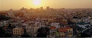 Mombasa - An aerial view of Mombasa skyline at sunset from the old town