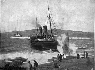 SS Mona's Isle (1882) - Tynwald attempts to tow Mona's Isle off the rocks at Scarlett Point.