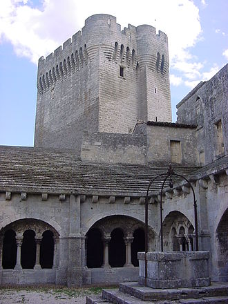Montmajour Abbey - View of the Pons de l'Orme tower (14th century) from the cloister