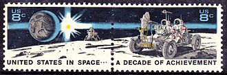 Lunar Roving Vehicle - Lunar rover on Space Achievement Decade Issue of 1971