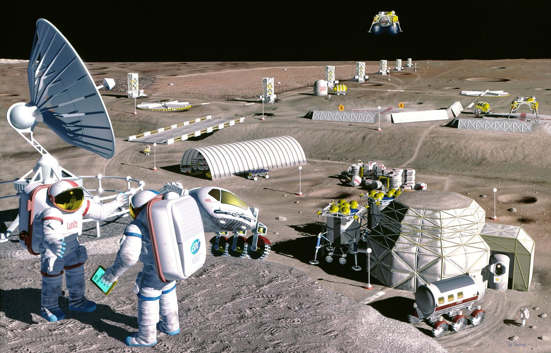 คอนเซ็ปต์ ของนิคมอวกาศบนดวงจันทร์ ภาพจาก NASA/SAIC/Pat Rawlings