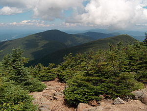 Carter-Moriah Range - View of the range looking north from Carter Dome. Left: Middle Carter; middle (distance): Moriah; right: Hight