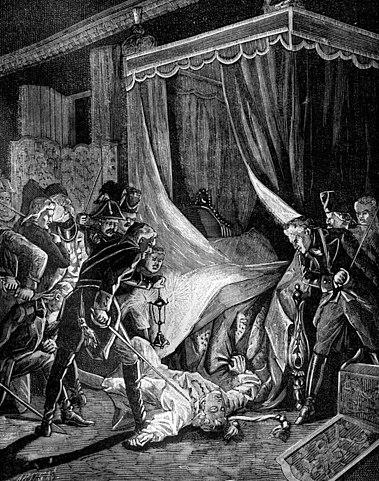 Убийство императора Павла I (французская гравюра, 1880-е годы)