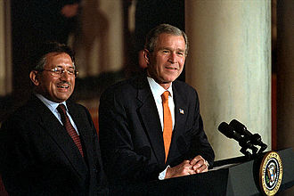 Pervez Musharraf - US president George W. Bush and his counterpart President Pervez Musharraf address the media in Cross Hall.